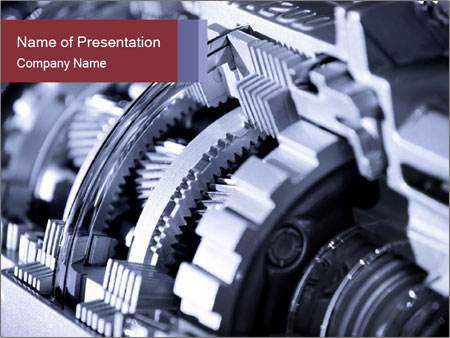 Close up shot of automotive transmission PowerPoint Template