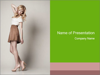 Portrait of beautyful posing blond woman PowerPoint Template