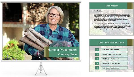 Senior woman gathering wood PowerPoint Template