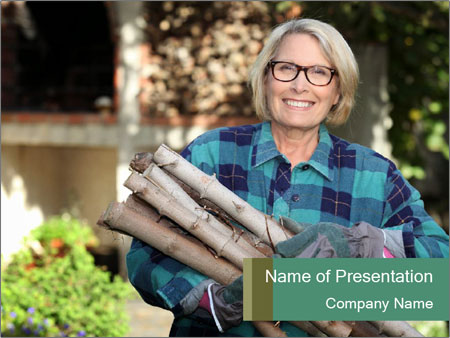 Senior woman gathering wood PowerPoint Templates