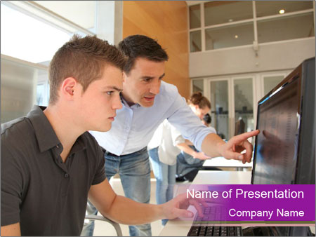 Teacher and student PowerPoint Template