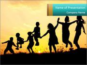 Shadow Of Playing Kids PowerPoint Template
