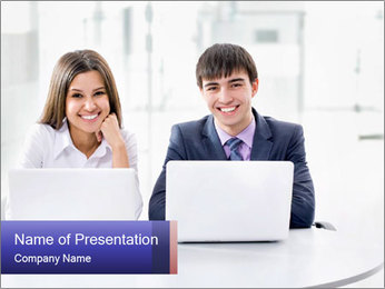 Two Colleagues With Laptops PowerPoint Template