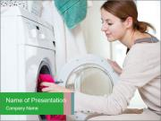Woman Washing Dirty Clothes PowerPoint Templates