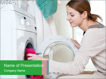 Woman Washing Dirty Clothes PowerPoint Template - Slide 1