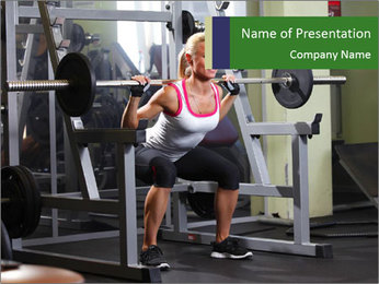 Woman Gym Workout PowerPoint Template - Slide 1
