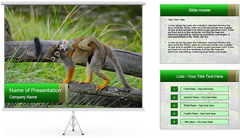 Monkey With Baby PowerPoint Template