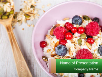 Muesli With Berries PowerPoint Template - Slide 1