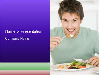 Man Having Lunch PowerPoint Template - Slide 1