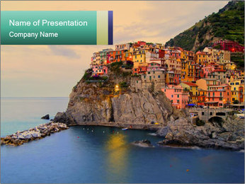 Italian Seaside Village PowerPoint Template - Slide 1