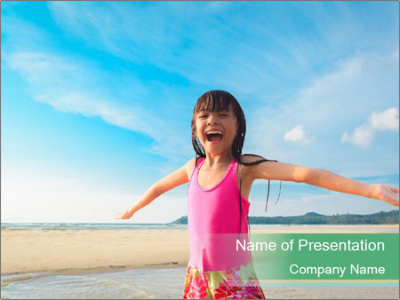 Small Girl In Pink Swimsuit PowerPoint Template