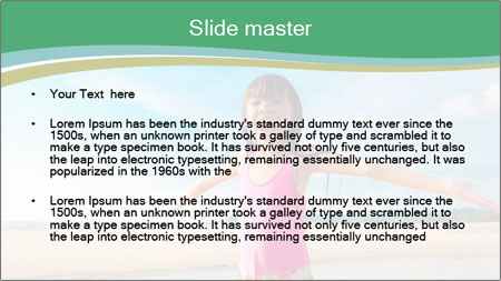 Small Girl In Pink Swimsuit PowerPoint Template - Slide 2