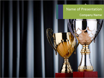 Two Trophies PowerPoint Template - Slide 1