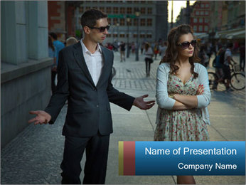 Couple Argue PowerPoint Template - Slide 1