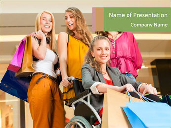 Friends In Shopping Mall PowerPoint Template
