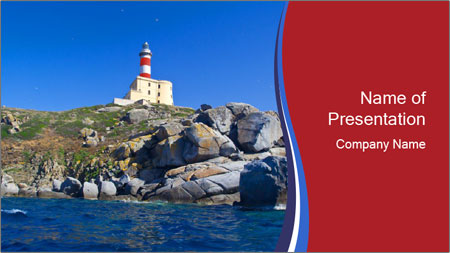 Lighthouse And Rock PowerPoint Template