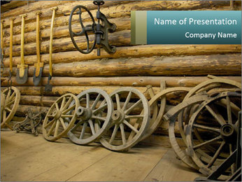 Old Wooden Cart PowerPoint Template - Slide 1