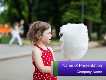 Small Girl With Cotton Candy PowerPoint Template - Slide 1