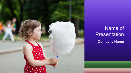 Small Girl With Cotton Candy PowerPoint Template