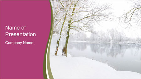 Winter Magic Lake Powerpoint Template Backgrounds Google Slides