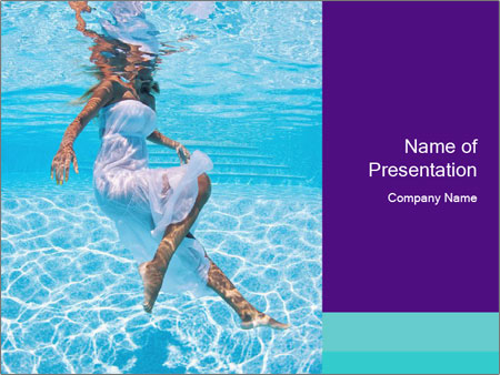 Bride Swimming In Pool PowerPoint Templates