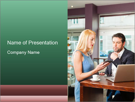 Colleagues In Cafe PowerPoint Templates