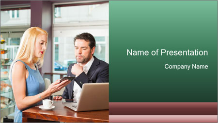 Colleagues In Cafe PowerPoint Template