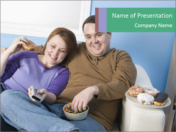 Fat Couple With Junk Food PowerPoint Template - Slide 1