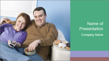 Fat Couple With Junk Food PowerPoint Template