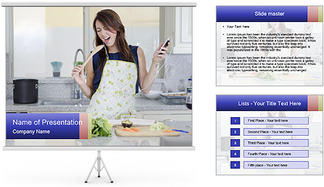 Happy Woman Cooking Lunch PowerPoint Template