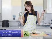 Happy Woman Cooking Lunch PowerPoint Templates