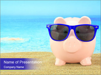 Pink Pig In Sunglasses PowerPoint Template