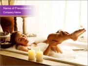 Relaxed Woman In Bath PowerPoint Template