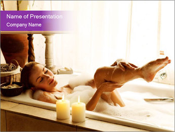 Relaxed Woman In Bath PowerPoint Template - Slide 1