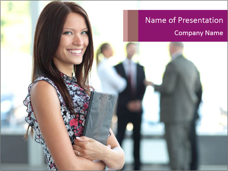 Smiling Office Manager PowerPoint Templates