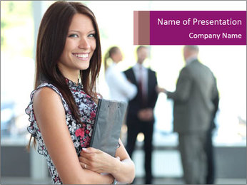Smiling Office Manager PowerPoint Templates - Slide 1