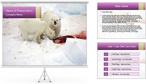 White Bears Hunting PowerPoint Template