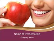 Smiling Woman And Red Apple PowerPoint Templates
