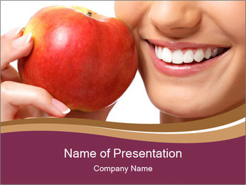 Smiling Woman And Red Apple PowerPoint Template