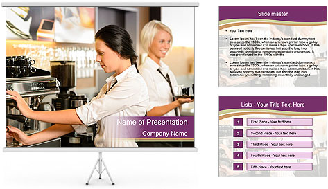 Woman Working In Coffeehouse PowerPoint Template