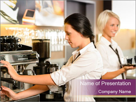 Woman Working In Coffeehouse PowerPoint Templates