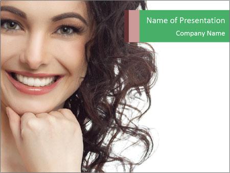 Smiling Brunette Woman PowerPoint Templates