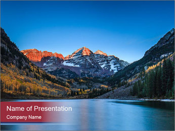 Sunrise at Maroon Bells PowerPoint Template - Slide 1