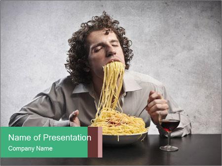 Man gorging of spaghetti PowerPoint Template