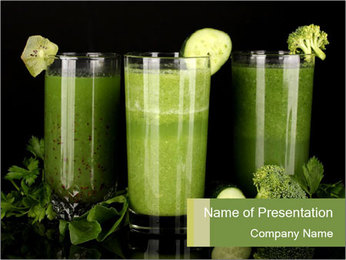 Three kinds of green juice PowerPoint Template - Slide 1