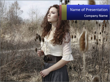 Beautiful girl in the fall nature PowerPoint Template