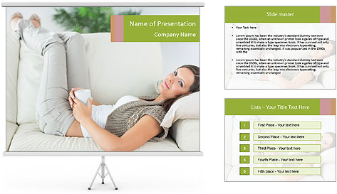 Calm woman lying on the sofa PowerPoint Template