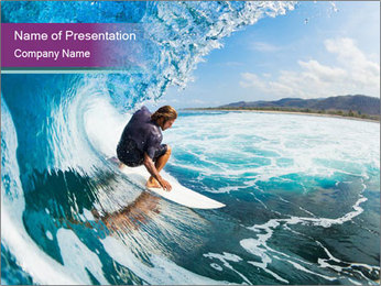 Surfer on Blue Ocean PowerPoint Template