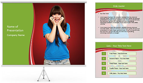 Young woman screaming PowerPoint Template