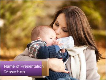 Baby drinking milk PowerPoint Templates - Slide 1